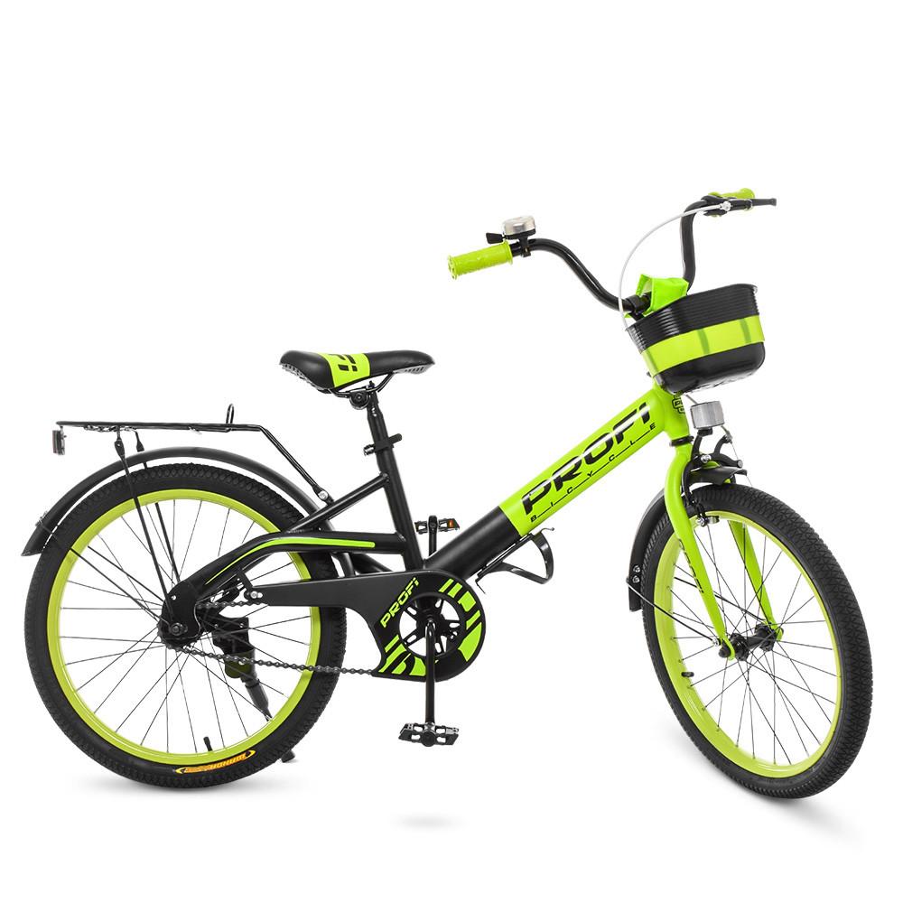 Детский велосипед колеса 20 дюймов PROFI Original W20115-6 стальная рама черно-зеленый