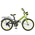 Детский велосипед колеса 20 дюймов PROFI Original W20115-6 стальная рама черно-зеленый, фото 3