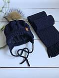 Вязаная зимняя утепленная шапка, шарф, варежки с натуральным меховым бубоном ручной работы., фото 2