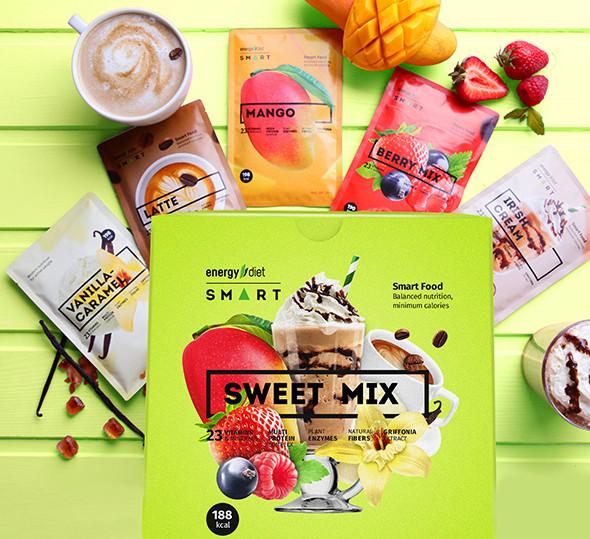 Заменитель питания для похудения Energy Diet Smart «Sweet Mix» 5 пакетиков Сбалансированное питание 5 вкусов