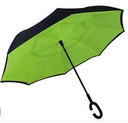 Ветрозащитный умный смарт зонт обратного сложения UP-brella антизонт (Зеленый)