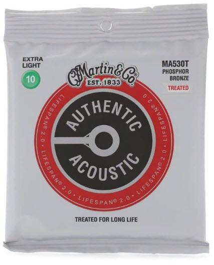 MARTIN MA530T Authentic Acoustic Lifespan 2.0 92/8 Phosphor Bronze Extra Light  Струны для акустической гитары