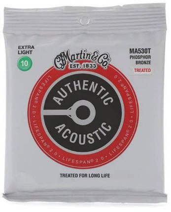 MARTIN MA530T Authentic Acoustic Lifespan 2.0 92/8 Phosphor Bronze Extra Light  Струны для акустической гитары, фото 2