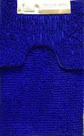 Набор ковриков в ванную и туалет с вырезом ROOM MAT 2 в 1 Микрофибра антискользящий синий