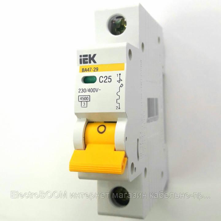 IEK автоматический выключатель 1 полюс 25А