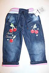 """Модные,стильные джинсы на девочку  """"Вишенка"""" ( флис ) 2,3,4,5 лет"""