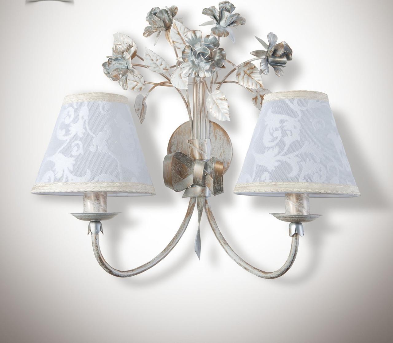 Настенный светильник, бра 2-х ламповое в стиле прованс 6402-2