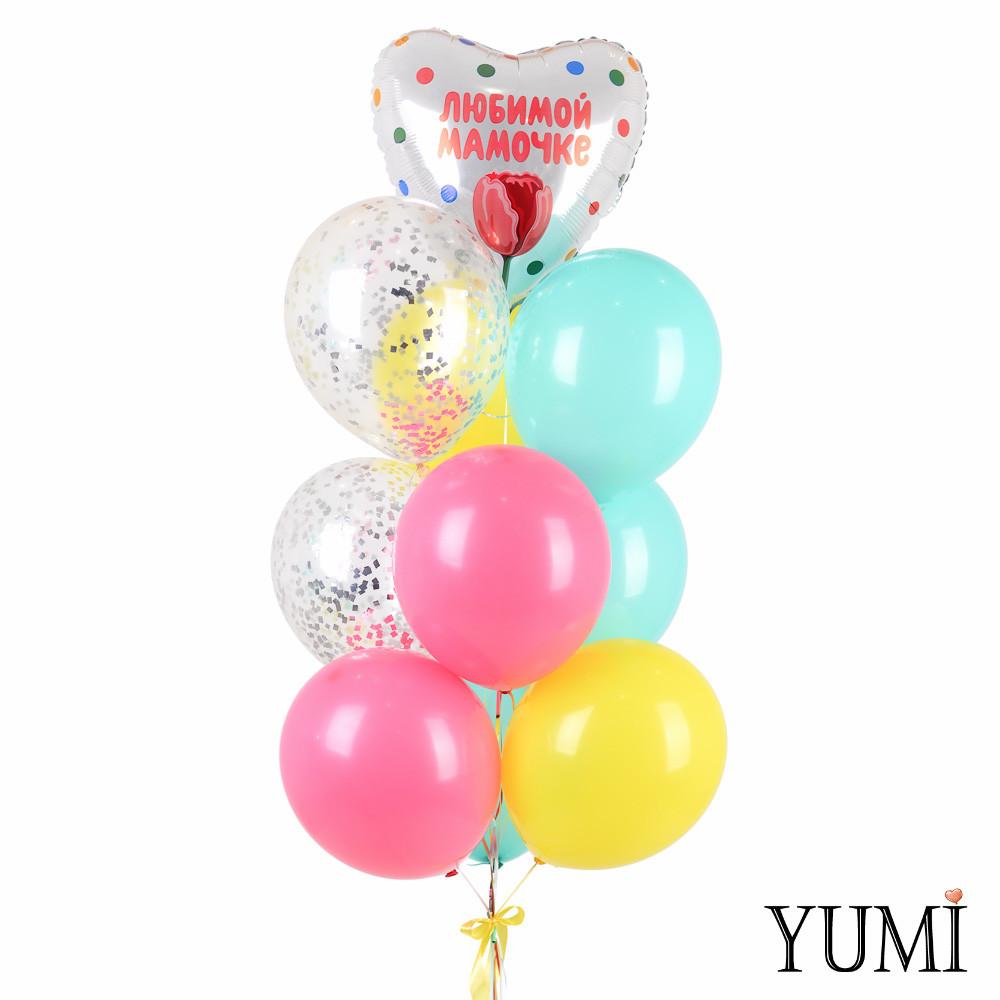 Связка: сердце Любимой мамочке с тюльпаном, 3 мятных, 2 желтых, 2 фуксия, 2 с конфетти серебро
