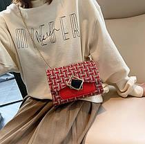 Элегантная сумка клатч на цепочке с декором, фото 3