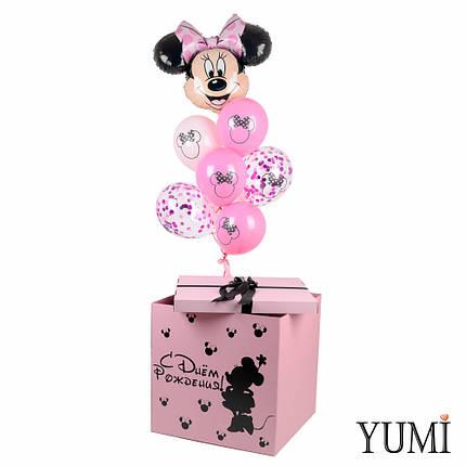 Коробка розовая с Минни Маус и  связкой шариков, фото 2