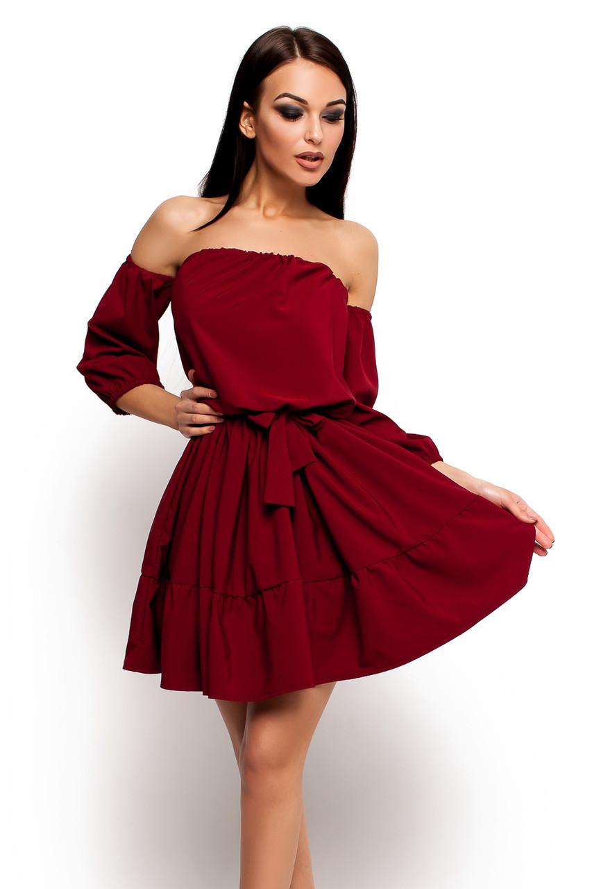 S-M / Жіноче літнє марсалове плаття Sarlin