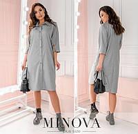 Платье женское прямого кроя (3 цвета) ОМ/-789 - Серый, фото 1