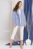 Модное короткое пальто голубого цвета Мансера 8987, фото 1