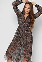 Платье женское летнее шифоновое с мелким цветочным принтом