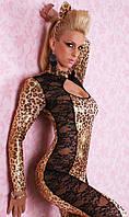 Женский леопардовый комбинезон с гипюровыми вставками L8552