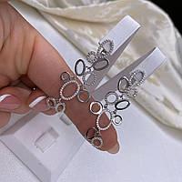 Серьги-подвески из серебра 925 пробы с родированием ,вставки фианиты.