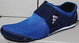 Кросівки сітка сині чоловічі на липучці від виробника модель ЛМ101-2, фото 2