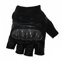 Перчатки тактические Oakley беспалые Carbone Black, фото 1