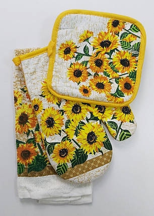 Подарочный набор для кухни прихватки и полотенце с подсолнухами, фото 2