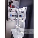 Узкий гримерный столик, высокое зеркало с подсветкой, белый, фото 4