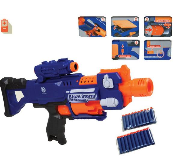 Бластер Blaze Storm пулемет на мягких пулях с присосками на батарейках