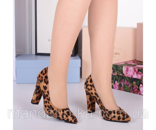 Демисезонные Туфли классика Yes,на каблуке 9,5см,размер в размер леопард эко замш 22846 польша