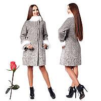 Зимнее женское пальто из итальянской шерсти F 820820 Серый