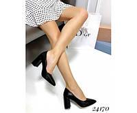Туфли на широком каблуке с острым носком, фото 1