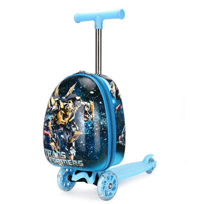 Супер самокат с чемоданом, принт  Трансформер