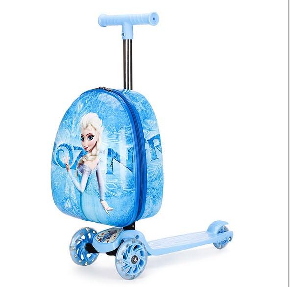 Супер самокат с чемоданом,  принт  Frozen Ельза