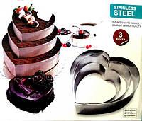 Форма для выпечки тортов 3 штуки (сердце)