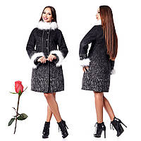 Зимнее женское пальто из итальянской шерсти F 820820 Черный