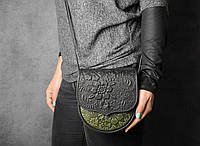 Маленькая тисненая бирюзово-оливковая сумочка из натуральной кожи, авторская кожаная сумка, фото 1