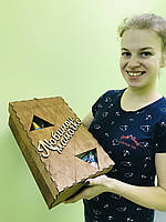 Деревянная подарочная коробка на 8 марта CraftBoxUA 34х20х10 см