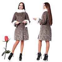 Зимнее женское пальто из итальянской шерсти F 820820 Каппучино