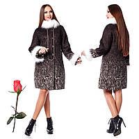 Зимнее женское пальто из итальянской шерсти F 820820 Коричневый