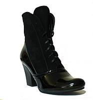 Полусапожки деми кожаные черный лак/черный замша, фото 1