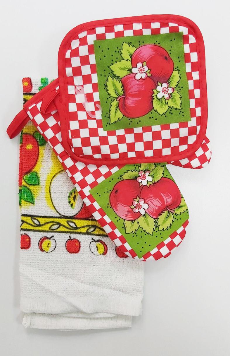 Подарочный набор для кухни прихватки с полотенцем с яблоками