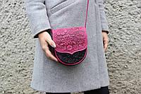 """Маленькая тисненая розово-чёрная сумочка из натуральной кожи, авторская кожаная сумка """"София"""", фото 1"""