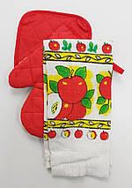 Подарочный набор для кухни прихватки с полотенцем с яблоками, фото 2
