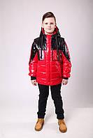 Куртка весенняя для мальчика подростка 36-42 красная с черным