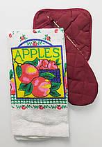 Подарочный набор для кухни прихватки с полотенцем с яблоками, фото 3