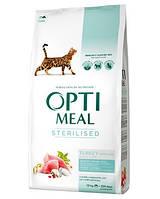 Сухой корм для стерилизованных кошек OPTIMEAL - индейка и овес, 10 кг