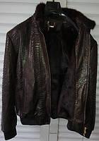 Куртка ZILLI из кожи питона темно-коричневая на норковой подстежке