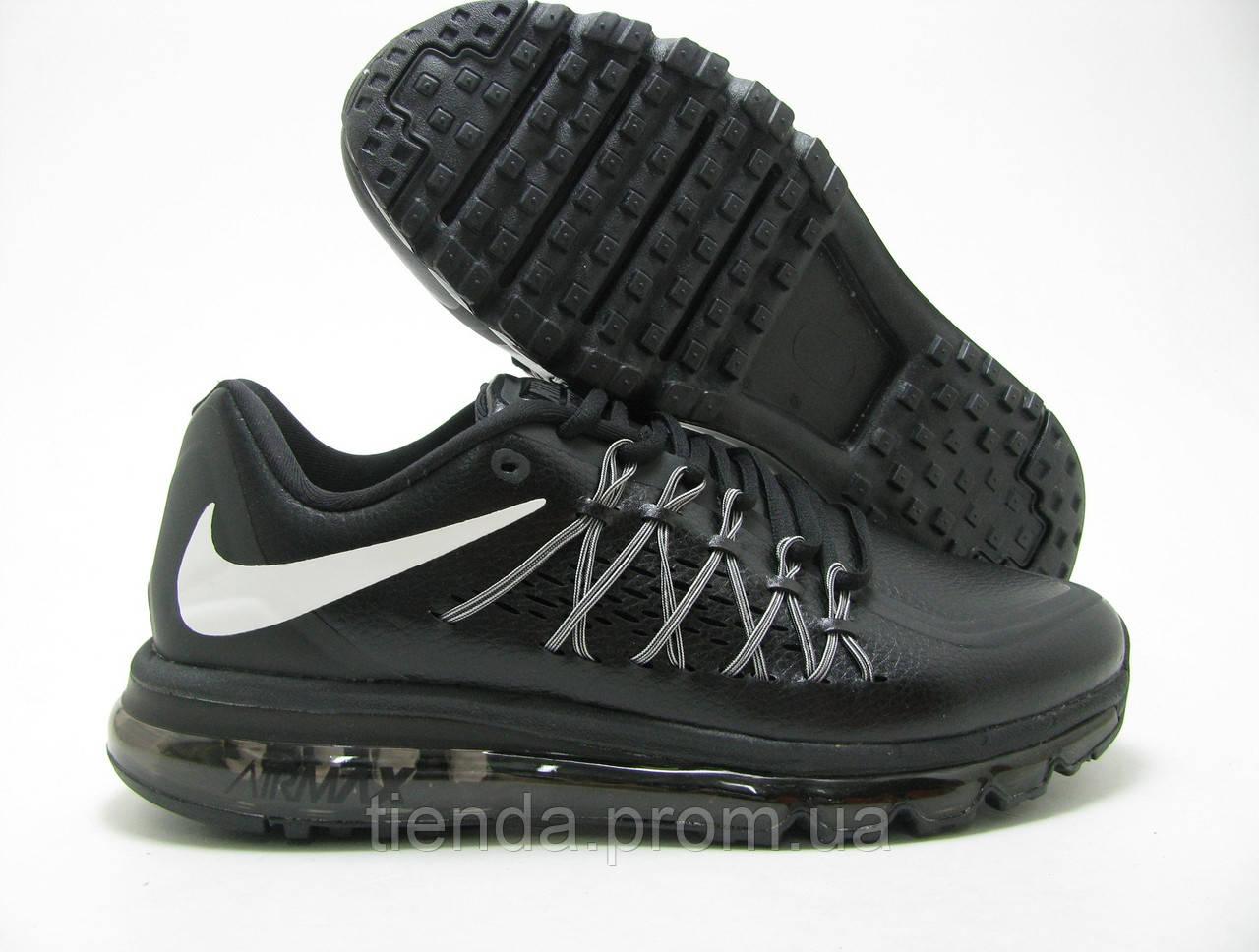 c2aa1677 Мужские кроссовки Nike Air Max 2015 черные / кожа / весна-осень ...