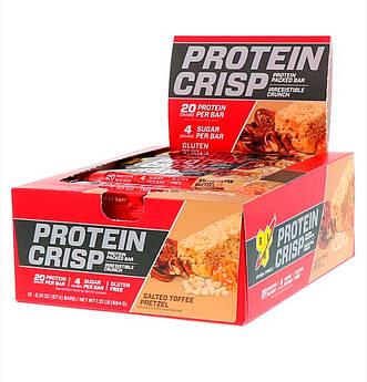 Протеиновый батончик, крендельки с соленой карамелью, BSN Protein Crisp12 батончиков, 57 г.