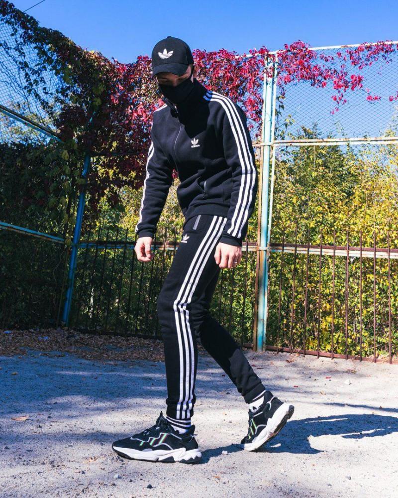 Тёплый спортивный костюм в стиле Adidas Round чёрный