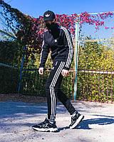 Тёплый спортивный костюм в стиле Adidas Round чёрный, фото 1