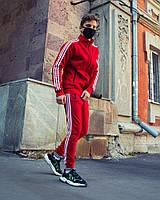 Тёплый спортивный костюм в стиле Adidas Round красный, фото 1