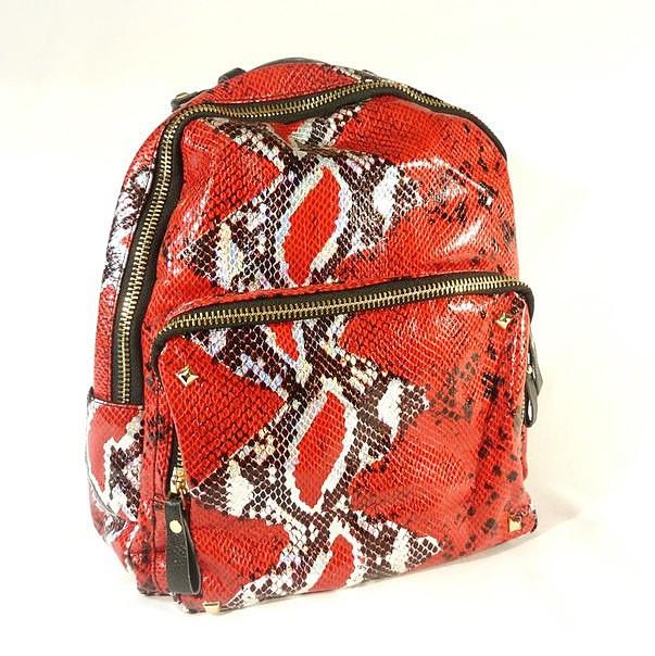 Рюкзак кожзам женский большой красный рептилия 120